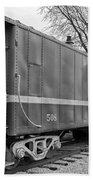 Tpw Rr Caboose Black And White Beach Towel