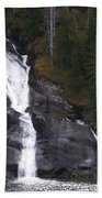 Tracey Arm Fjord Waterfall Beach Towel