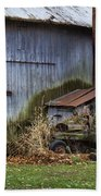 Tractor And Barn On Cloudy Day Beach Towel