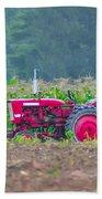 Tractor In A Corn Field Beach Towel
