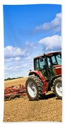 Tractor In Plowed Farm Field Beach Towel by Elena Elisseeva