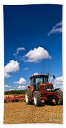 Tractor In Plowed Field Beach Towel by Elena Elisseeva