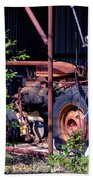 Tractor In Shed Beach Towel