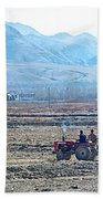 Tractor Used In Farming Along The Road To Shigatse-tibet Beach Towel
