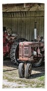 Tractors In The Shed Beach Sheet