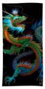 Tradition Asian Dragon Illustration 1 Beach Towel