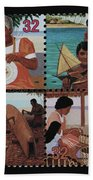 Traditional Pacific Handicrafts Postage Stamp Print Beach Towel