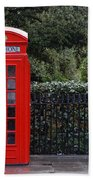 Traditional Red Telephone Box In London Beach Towel
