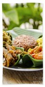 Traditional Vegetarian Curry With Rice In Bali Indonesia Beach Towel