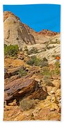 Trail Up To The Tanks From Capitol Gorge Pioneer Trail In Capitol Reef National Park-utah Beach Towel