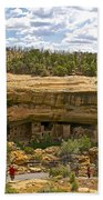Trail View Of Spruce Tree House On Chapin Mesa In Mesa Verde National Park-colorado Beach Towel