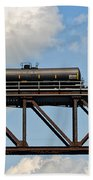 Train Cars On The Bridge Beach Towel
