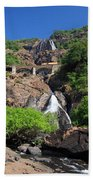 Train Crossing Dudhsagar Falls Beach Towel