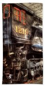 Train - Engine - 1218 - Norfolk Western - Class A - 1218 Beach Towel by Mike Savad