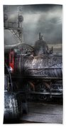 Train - Engine - 1218 - Waiting For Departure Beach Towel