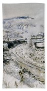 Train In The Snow At Argenteuil Beach Towel by Claude Monet