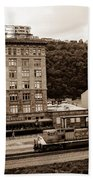 Train Passes Station Square Pittsburgh Antique Look Beach Towel