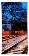 Train Station First Snow Beach Towel