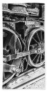 Train - Steam Engine Wheels - Black And White Beach Towel