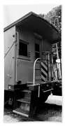 Train - The Caboose - Black And White Beach Towel