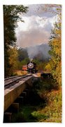 Train Through The Valley Beach Towel by Robert Frederick