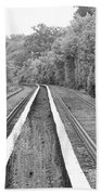 Train Tracks Running Through The Forest Beach Towel
