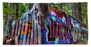 Train Wreck Art In The Forest Beach Towel