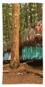 Train Wreck Canvas Among The Trees Beach Towel