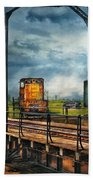 Train - Yard - On The Turntable Beach Towel by Mike Savad