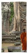Tranquility In Angkor Wat Cambodia Beach Sheet