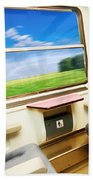Travel In Comfortable Train. Beach Towel