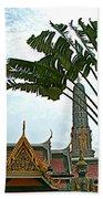 Traveler's Palm At Grand Palace Of Thailand In Bangkok Beach Towel