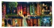 Fairytale Treasure Hunt Book Shelf Variant 2 Beach Towel