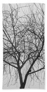 Tree Abstract In Black And White Beach Towel