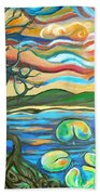 Tree And Lilies At Sunrise Beach Towel