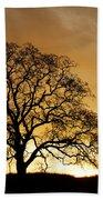 Tree At Golden Sunrise Beach Towel