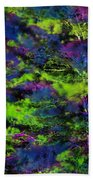 Tree Branches Lit With Abstract Colorful Projection Beach Towel