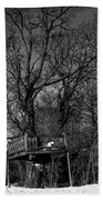 Tree House In Black And White Beach Towel
