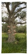 Tree Hugging Green Ecological Concept  Beach Towel