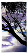 Tree In Silhouette Beach Towel