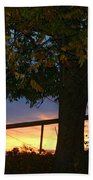 Tree In The Sunset Beach Towel