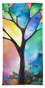Original Art Abstract Art Acrylic Painting Tree Of Light By Sally Trace Fine Art Beach Towel