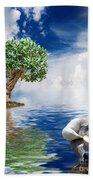 Tree Seagull And Sea Beach Towel