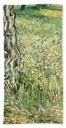 Tree Trunks In Grass Beach Towel
