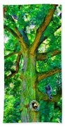 Tree With Owl Gnome And Mushroom Beach Towel