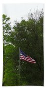 Trees And Flag Beach Towel