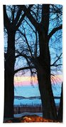 Trees And Sunset Beach Towel