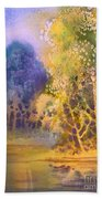 Trees And Water Beach Towel