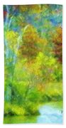 Trees In Spring On A Lake Beach Towel
