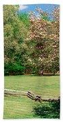 Trees On A Field, Davidson River Beach Towel